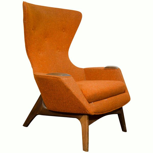 View This Item And Discover Similar Wingback Chairs For Sale At   A Vintage  High Back Sculptural Wing Chair In Original Orange Fabric By Designer  Adrian ...