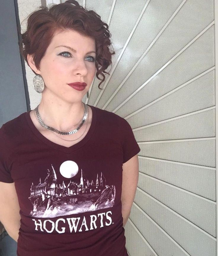 Red Curly Pixie And Hogwarts Shirt #asymmetricalbob