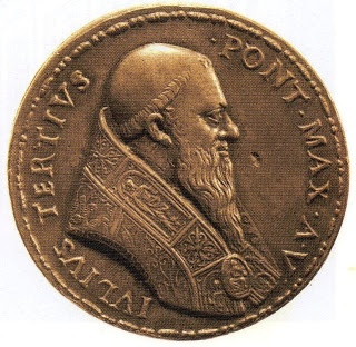 ~the reverse of the medal is an image of Pope Julius III, the contemporary pope, who Mary enjoyed good relations with. Julius had confirmed Pole's appointment to England and although he initially pressed for former monastic lands to be resorted to the Church, he eventually conceded that 'it would be far better for all reasons human and divine, to abandon all the Church property [in England], rather than risk the shipwreck of this understanding'