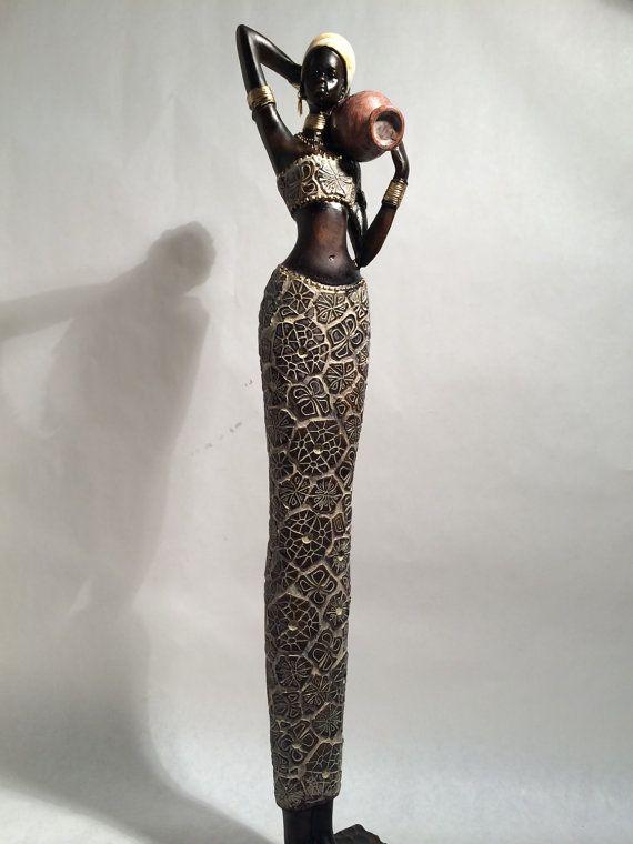 Estatua de la mujer africana - Kenia Tribal arte muñeca figura escultura casa decoración