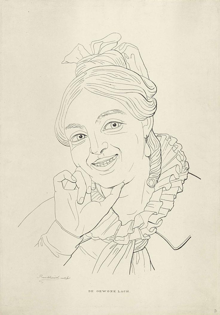 Petrus van Schendel | Lachende vrouw, Petrus van Schendel, 1834 | Een lachende vrouw met opgestoken haar en een geplooide kraag laat haar hoofd op haar rechterhand rusten.