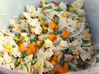 Nudelsalat a la Mama. Dieses Rezept haben wir ein wenig angepasst. Ich finde, frische Zutaten schmecken einfach besser als welche aus dem Glas :) http://www.nudelsalat-rezept.de/rezepte/33-nudelsalat-a-la-mama/