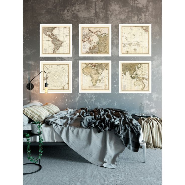 Map bedroom wall art. Set of six antique maps of the World. Handmade paper print from 109,99€. Shipment worldwide. World map on wall. Map set for home decor.