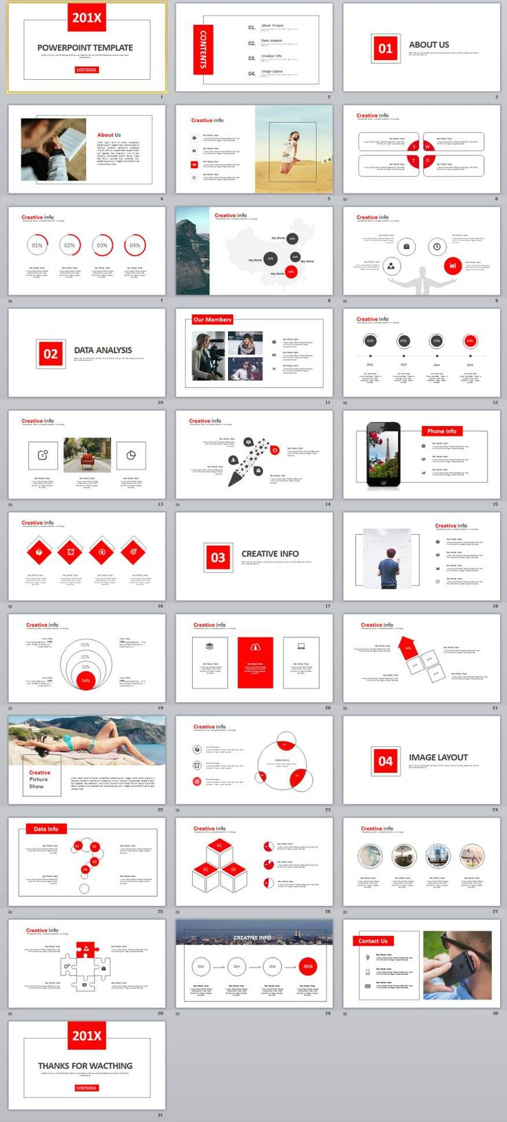 30+ white Multipurpose PowerPoint templates