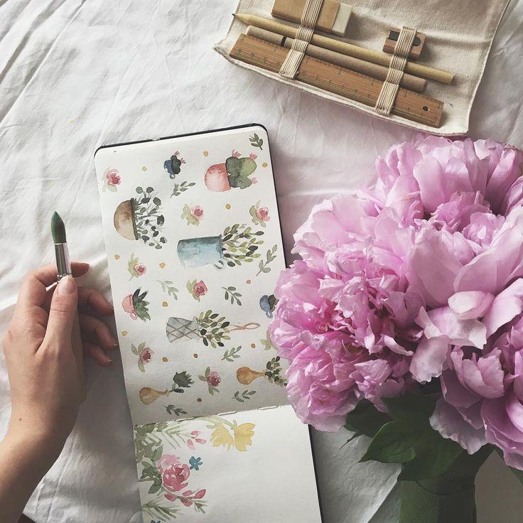 """""""Mi piace"""": 26, commenti: 5 - Lucia de Marco Illustration © (@lucy_inthe_papersky) su Instagram: """"Al carretto dei fiori oggi buttavano via queste meravigliose Peonie al massimo dell'apertura... le…"""""""