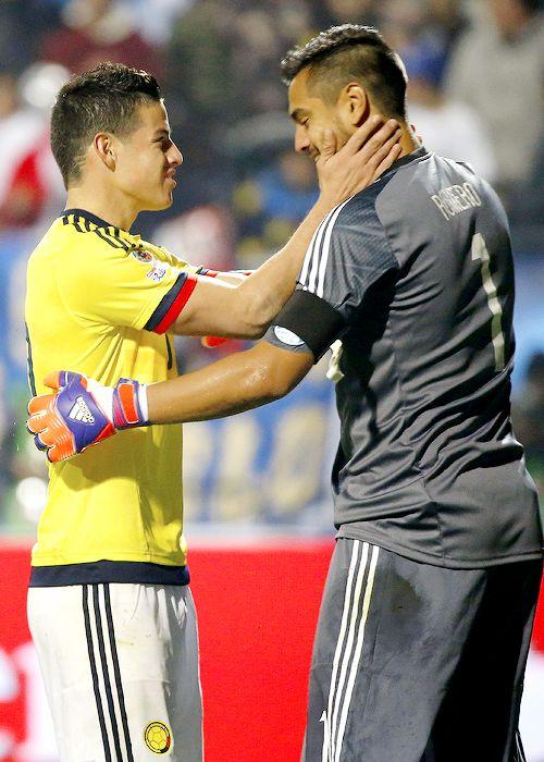 James and  Sergio,Romero   .Copa America Chile 2015 Match Argentina vs Colombia 26.6.15