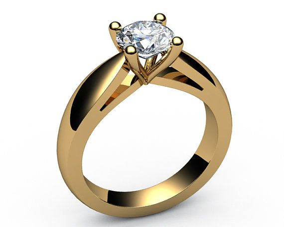 Very precisely made, very prompt, clean job, by the most, talented Jewelry Designer. The material is ,18K Solid Yellow Gold or White gold its for you to choose very rich classic and elegant look beautiful gift for yourself or your loved one nice present for a birthday or anniversary  Setting: Solitaire Diamond Engagement Cathedral Tension Contour Ring Metal type: 18K White Gold or 18K Yellow Gold Weight: 7.20 grams Shank width: 3.5 mm. Setting type: Bar Prong setting  Main stone: Stone…
