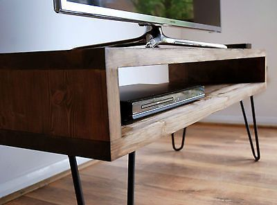 Vintage Retro Box TV Stand w/ Metal Hairpin Legs Solid Wood, Rustic, Unit, Table