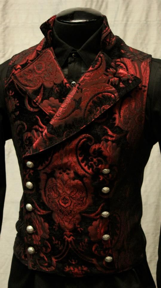 A lovely Victorian Gothic style waistcoat, red and black brocade with a high shawl collar, made by Shrine. It's part of a Steampunk style outfit I'm putting together for an upcoming Halloween party