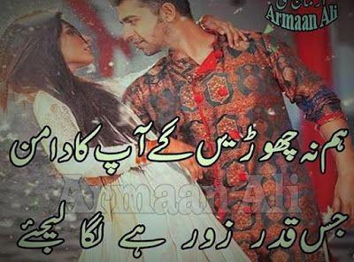 Lovely Poetry, Roman Urdu poetry for Lovers, Roman Urdu Love Poetry: Hum na choarhaingey aap ka daaman Romantic Poetry