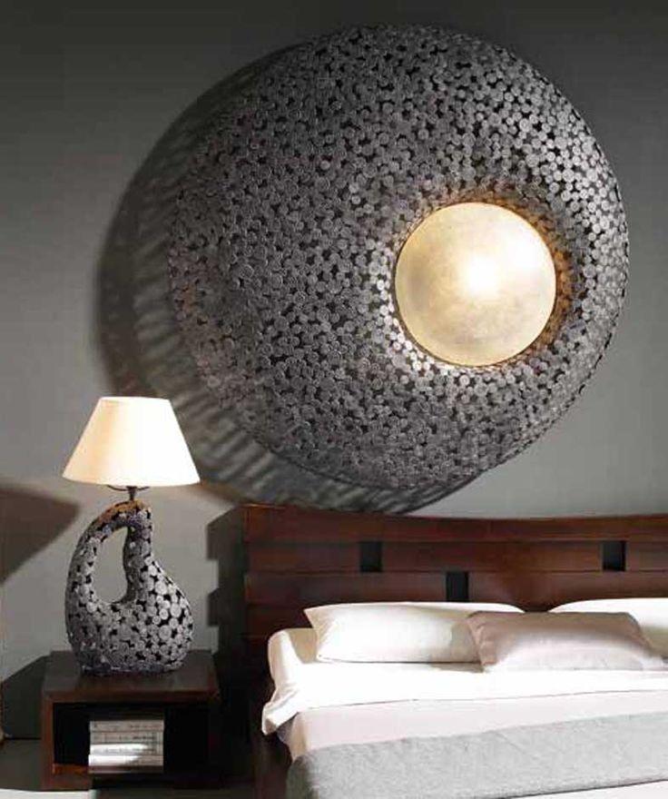 Lamparas en Metal de estilo etnico CONCENTRICA. Ilumianción Beltran, tu tienda online en lámparas de metal envejecido. www.decoracionbeltran.com