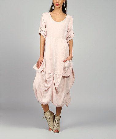 100 Lin Blanc Pink Pamela Linen Scoop Neck Dress Scoop