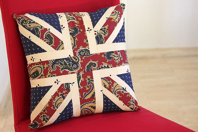 Union Jack Cushion with French Flag back by  Bonjour Quilts.  Just went straight to the top of my must sew list. (Fabrics Grand Paisley and Mr Jones by Laura Ashley)