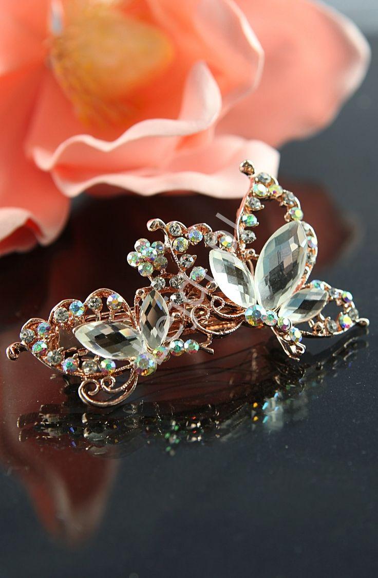 Hairpin with crystals. wedding jewelry. Spinka do włosów kryształkowe motyle | biżuteryjna spinka do włosów