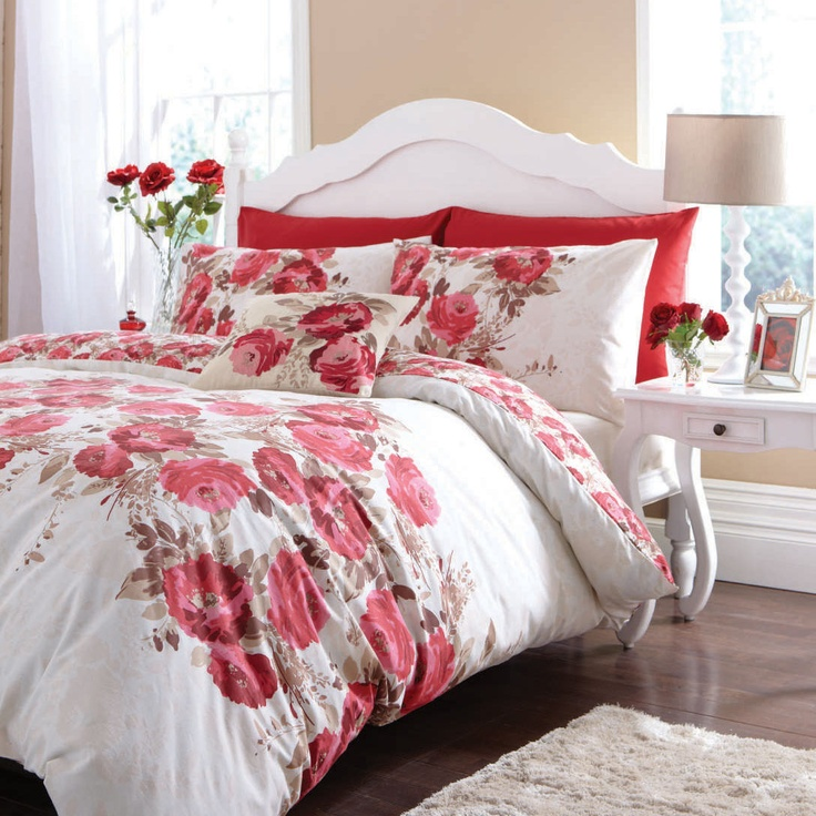 Red and white floral bedding.  http://www.worldstores.co.uk/p/Catherine_Lansfield_Grace_Red_Bedding_Set.htm