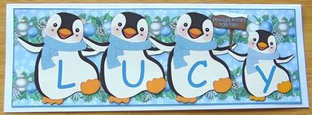PENGUIN KISSES - LUCY by Joyce Watson: I printed this sheet on to glossy photo paper. Attached the main image on to a large DL card using…
