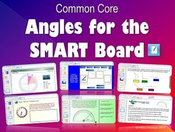 """Common Core Angles for the SMART Board.  This Common Core aligned interactive *SMART Board lesson introduces students to different types of basic angles (acute, obtuse, straight, and right) and also involves utilizing an interactive protractor. Lesson also includes """"SMART Skoool"""" Learning & Teaching Technology slides, interactive matching and reveal games for hands-on manipulation, writing in math with real world problems, Real-World Scavenger Hunt, and Math Journal prompts."""
