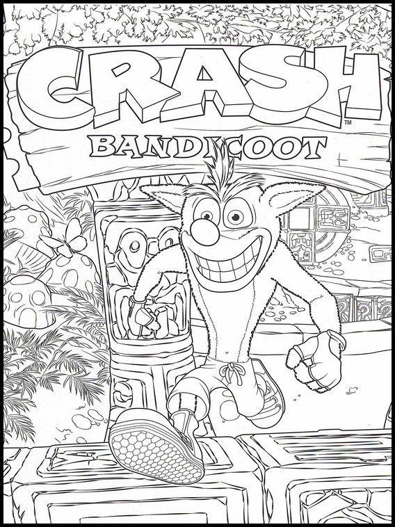 Imprime laminas con dibujos para que los niños aprendan a pintar. Crash Bandicoot 4 dibujos faciles para dibujar para niños