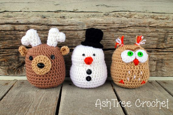 Winter crochet pattern bundle (Snowman, Owl, Deer)