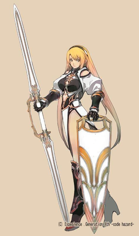 Anime Characters Use Dual Swords : Dual spear and long shield wielder character design