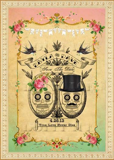 DIY Printable Save The Date Cards Digital Download - Vintage Mexican Sugar Skulls Day of The Dead Wedding - Personalized Mint and Pink Ombre. $10.00, via Etsy.