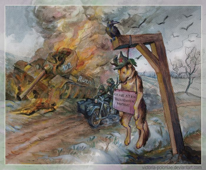 """Czterej pancerni- zakonczenie by Victoria-Poloniae """"Four Tankmen And a Dog"""" was a Polish TV series from the late 60s, it was popular in Poland and USSR. As the title says, it was a story about four soldiers in a tank and their dog, Sharik."""