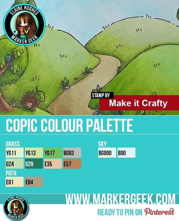 Make it Crafty Hilly Lane Background Copic Marker Colour Palette - www.markergeek.com