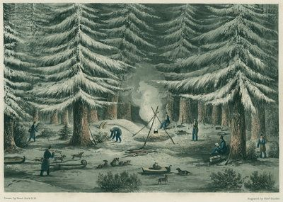 Setting up camp in a forest clearing on a cold night. An aquatint print from 1823.