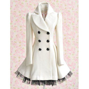 So nice and clean looking. Women's Worsted Color Matching Double-breasted Beam Waist Voile Stitching Plicated Ruffles Long Edition Stylish Coat, WHITE, 2XL in Jackets & Coats | DressLily.com