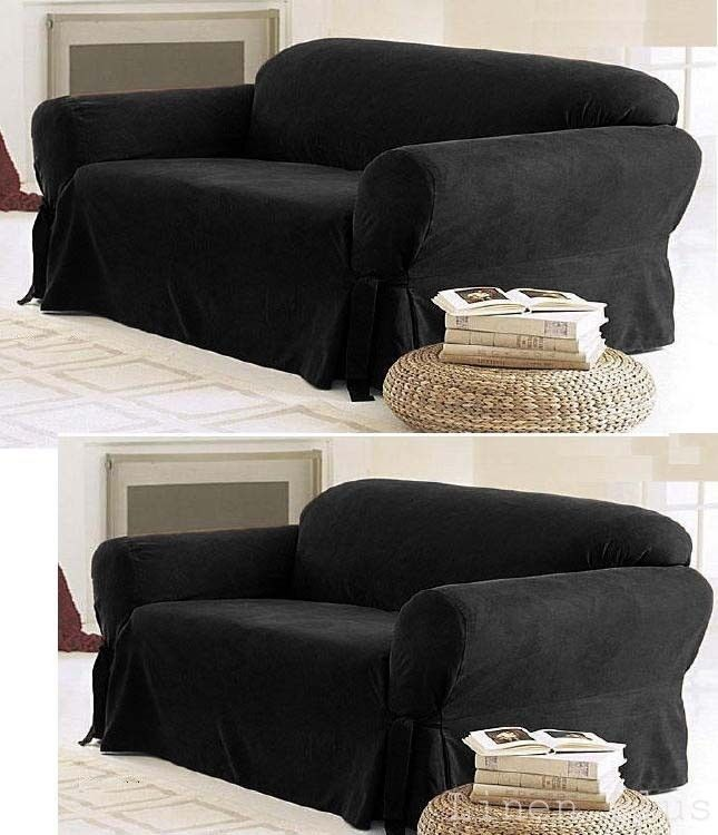 Slipcovers 175754: 2-Pc Black Micro Suede Couch Sofa Loveseat Slip Cover New -> BUY IT NOW ONLY: $44.99 on eBay!