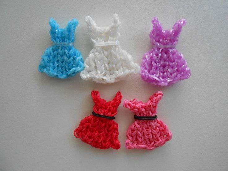 Rainbow Loom Dress Charm Lot of 5 Party Favors Handmade