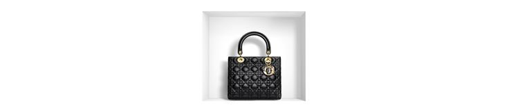 'lady dior' bag in black lambskin - Leather goods Dior