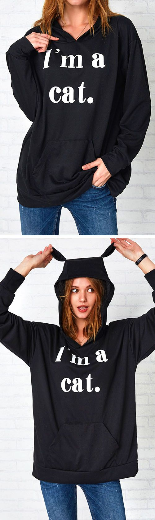 Go ahead--crop to it with $27.99 Only.This Hoodie Sweatshirt is made in soft and comfy cotton and features ear hood design, letters pattern. Take it, fall in love with this fall! Get it at Cupshe.com