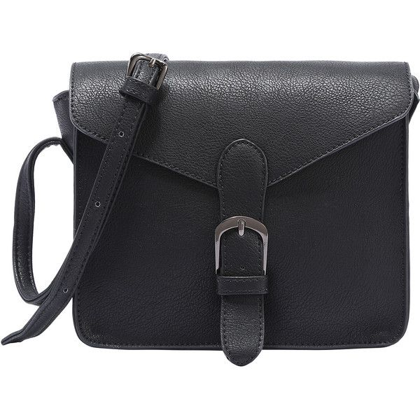 Faux Leather Buckle Strap Flap Bag - Black (930 RUB) ❤ liked on Polyvore featuring bags, handbags, shoulder bags, purses, bolsas, accessories, black, shoulder handbags, handbag purse and hand bags