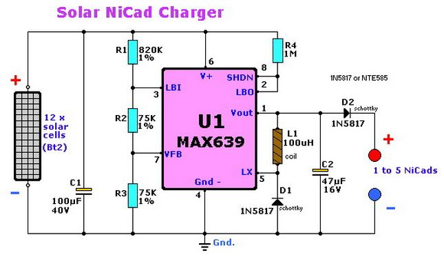 Solar NiCad Charger Electronic CIrcuit Diagram