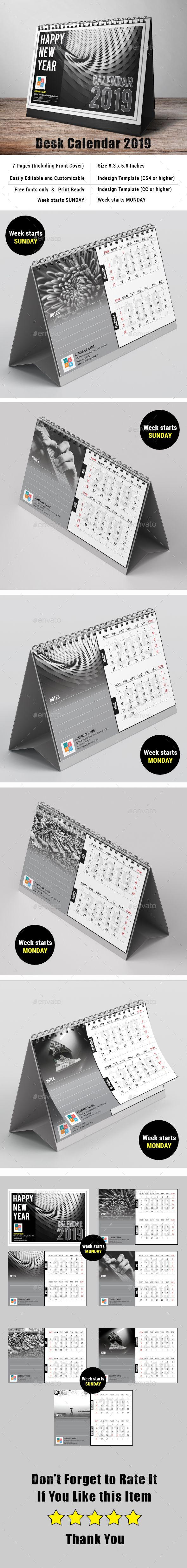 Desk Calendar 2019 Desk calendars, Calendar, Desk