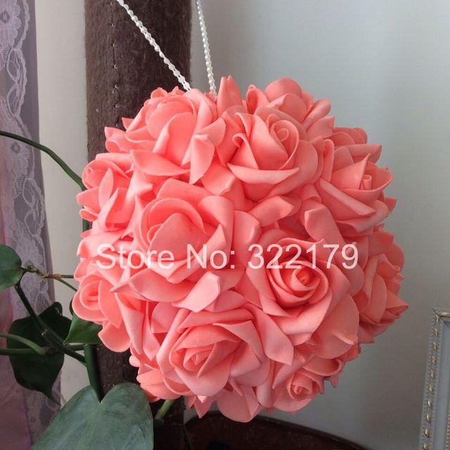 100 шт. коралл свадебные цветы пена розы для свадебных украшений коралловые целовать мяч ароматический шарик цветы ватки центральные