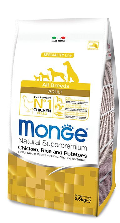 ALL BREEDS ADULT CHICKEN, RICE AND POTATOES Kibbles Monge Natural Superpremium Speciality Line Adult with Chicken, Rice and Potatoes are a complete food for all breeds adult dogs require highly digestible foods.