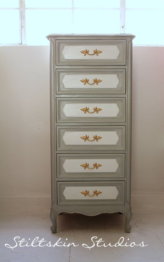 Beautiful Iridescent Grey French Provincial Lingerie Chest