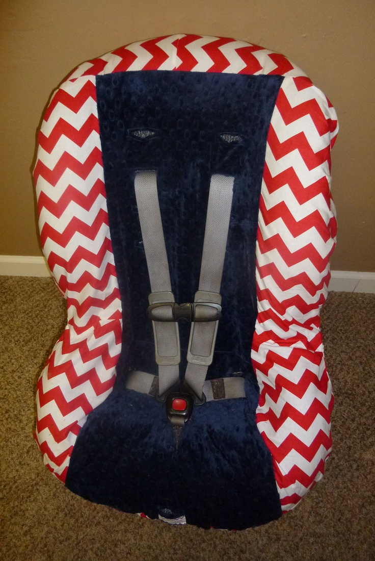 Red Chevron with Navy Toddler Car Seat Cover. $40.00, via Etsy.