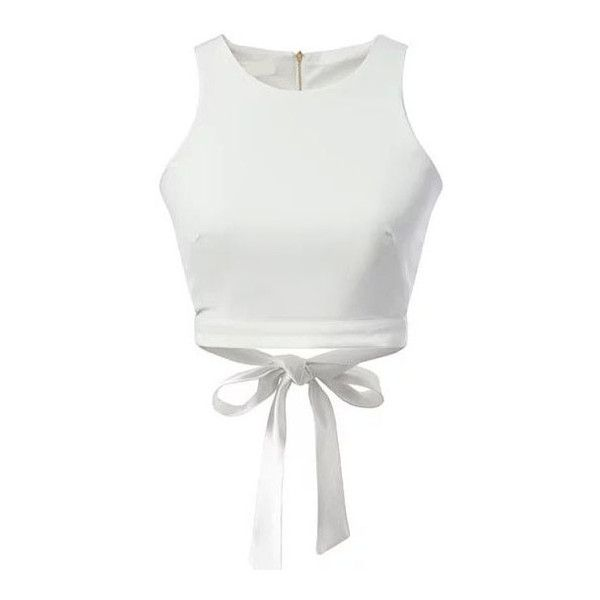 SheIn(sheinside) White Zipper Hollow Bow Tank Top ($14) ❤ liked on Polyvore featuring tops, crop top, shirts, crop, white, embellished tops, cami top, white cami top, camisole tops and white summer shirt