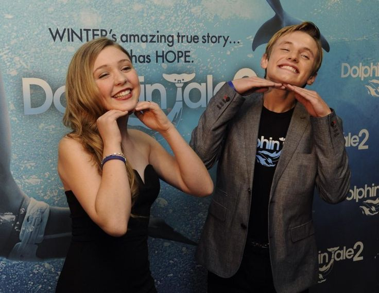 Cozi Zuehlsdorff and Nathan Gamble Red Carpet screening for Dolphin Tale 2.