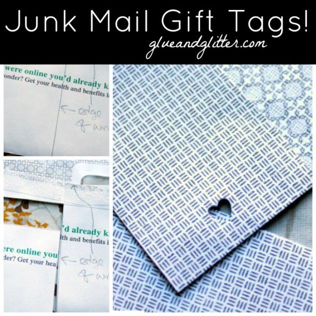 Junk mail envelopes are just the right size for making a cute gift tag! Their one redeeming quality.