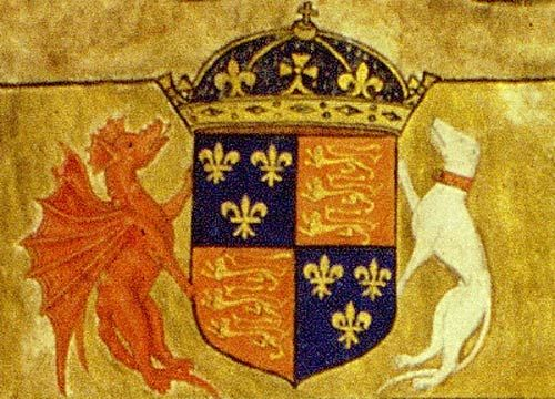 Henry VII's Coat of Arms, featuring the red Welsh dragon and the white Beaufort greyhound.