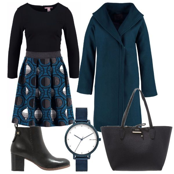 Per questo outfit: vestito con gonna a pieghe fantasia con scollo tondo, cappottino dal taglio minimal verde petrolio, stivaletto nero con tacco largo e comodo, maxibag Guess nera e orologio verde petrolio per arrivare puntuali.