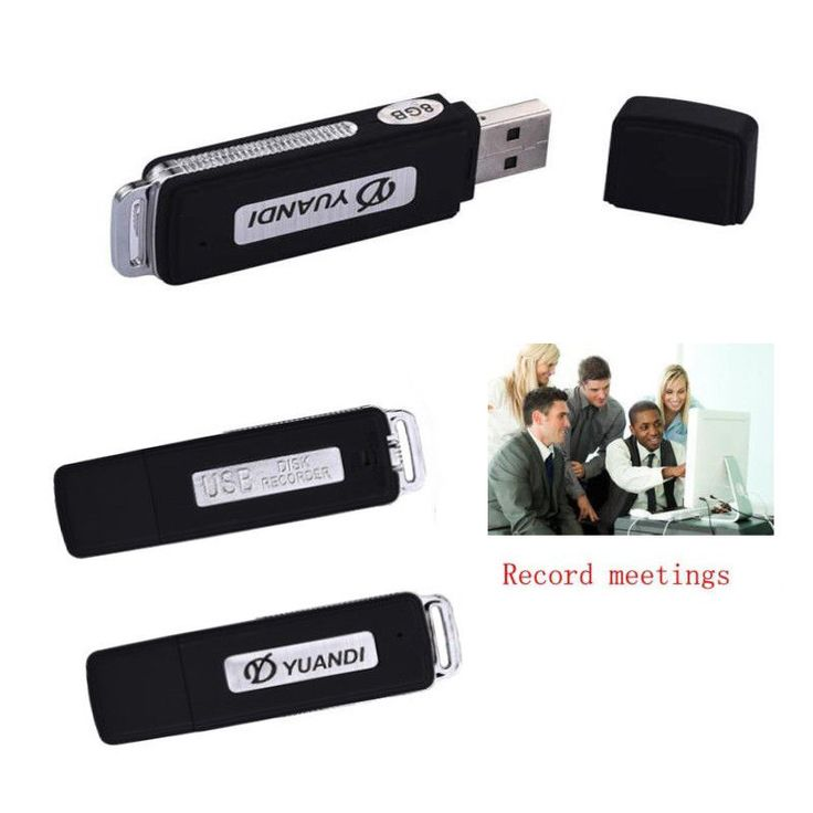 Mini Voice Digital Spy Recorder 8GB Recording USB Flash Small Mic Audio 15hr #UR081708041103
