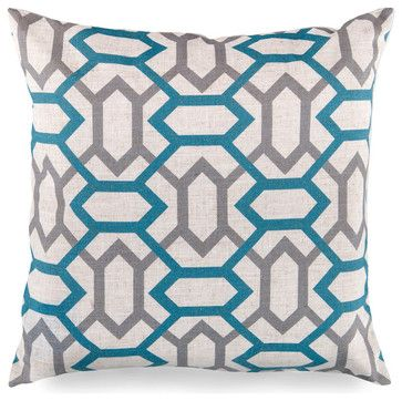 Chainlink Pillow - Teal And Grey transitional-decorative-pillows