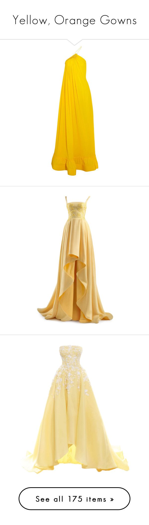 """Yellow, Orange Gowns"" by srta-sr ❤ liked on Polyvore featuring smrgowns, dresses, gowns, long dresses, stella mccartney, open back gown, slit gown, yellow evening gown, pleated dress and long yellow dress"