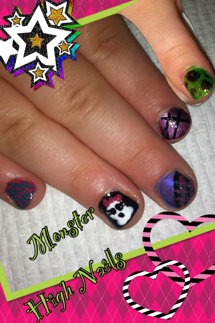 18 best nail designs images on pinterest blue yellow colorful monster high nail art on my 4 year olds nails prinsesfo Gallery