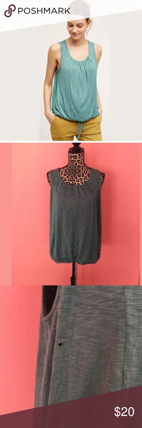 Anthropologie Teal Sleeveless Bubble Hem Top L • Dolan Left Coast Collection's, brand sold at Anthropologie stores, Libba Top in size Large. • Brand new with no tags attached. • Top has a small hole on upper right hand side of top, close to armpit area. • Features a gathered drawstring hem, sleeveless, and made of a soft pajama like fabric. • Plenty of stretch. • No smells or stains! Anthropologie Tops